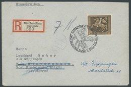 Dt. Reich 671y BRIEF, 1938, 42 Pf. Braunes Band, Waagerechte Gummiriffelung, Mit Sonderstempel Auf Einschreibbrief, Prac - Deutschland