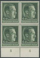 Dt. Reich 672x VB **, 1938, Reichsparteitag, Senkrechte Gummiriffelung, Im Unterrandviererblock, Postfrisch, Pracht, Mi. - Deutschland