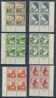 Dt. Reich 675-83 VB **, 1938, Ostmarklandschaften In Unteren Eckrandviererblocks, 3, 5, 8 Und 25 Pf. Mit Formnummer, Pos - Deutschland