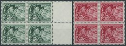 Dt. Reich 684/5y VB **, 1938, Volksabstimmung, Waagerechte Gummiriffelung, In Viererblocks, Postfrisch, Pracht, Mi. 160. - Deutschland