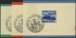 Dt. Reich 686-88 BrfStk, 1939, Automobilausstellung Mit Ersttags-Sonderstempel Auf 3 Kleinen Werbekarten Der Deutschen B - Deutschland