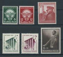 Dt. Reich 689-94 **, 1939, 6 Postfrische Prachtwerte, Mi. 72.- - Deutschland