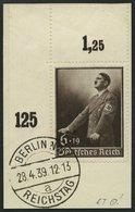 Dt. Reich 694 BrfStk, 1939, 6 Pf. Tag Der Arbeit, Obere Linke Bogenecke, Prachtbriefstück - Deutschland