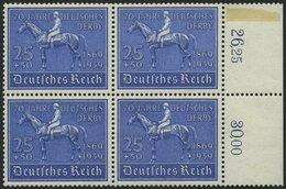 Dt. Reich 698 VB **, 1939, 25 Pf. Deutsches Derby Im Viererblock, Pracht, Mi. 320.- - Deutschland