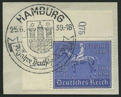 Dt. Reich 698 BrfStk, 1939, 25 Pf. Deutsches Derby, Obere Linke Bogenecke Mit Form-Nr. 1, Sonderstempel, Prachtbriefstüc - Deutschland