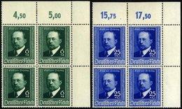 Dt. Reich 760/1 VB **, 1940, Behring In Eckrandviererblocks, Falzrest Im Oberrand, Pracht, Mi. (60.-) - Deutschland