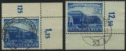 Dt. Reich 767 O, 1941, 25 Pf. Hauptbahnhof, Rechte Obere Und Linke Untere Bogenecke, 2 Prachtwerte - Deutschland