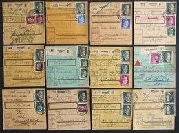 Dt. Reich 799A/B BRIEF, 1944/5, 1 M. Hitler, Beide Zähnungen, 12 Paketkarten Mit Verschiedenen Frankaturen, Feinst/Prach - Deutschland