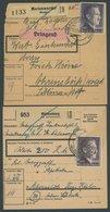 Dt. Reich 800A BRIEF, 1944, 2 M. Hitler, Gezähnt A, 4 Paketkarten Mit Verschiedenen Zusatzfrankaturen, Feinst/Pracht - Deutschland