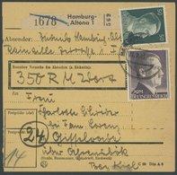 Dt. Reich 800B BRIEF, 1945, 2 M. Schwarzviolett, Gezähnt B, Mit 50 Pf. Zusatzfrankatur Auf Paketkarte Aus HAMBURG ALTONA - Deutschland