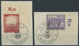 Dt. Reich 804/5 BrfStk, 1941, Wiener Messe In Bogenecken Mit Sonderstempel WIEN Auf Prachtbriefstücken - Deutschland
