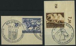 Dt. Reich 814/5 BrfStk, 1942, 25 Pf. Deutsches Derby Und 42 Pf. Braunes Band, 2 Bogenecken Mit Sonderstempel, Auf Pracht - Deutschland