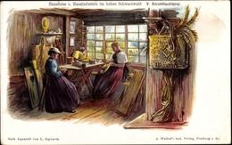 Lithographie Schwarzwald, Hausfleiss Und Hausindustrie, Strohflechterei - Costumes