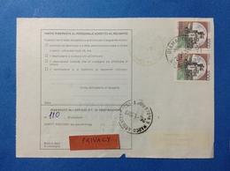 ITALIA COPPIA CASTELLO 1000 LIRE SU BOLLETTINO PACCHI DEL 1989 - 6. 1946-.. Repubblica