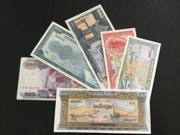 CAMBODIA SET 1 5 50 100 100 100 RIELS BANKNOTES (1970's) UNC - Cambodia