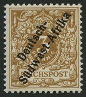 DSWA 1f *, 1897, 3 Pf. Hellocker, Falzrest, Pracht, Fotobefund Jäschke-L., Mi. 350.- - Kolonie: Deutsch-Südwestafrika