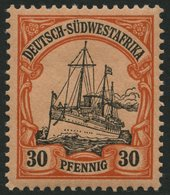 DSWA 16 *, 1901, 30 Pf. Rötlichorange/rotschwarz Auf Mattgelblichorange, Ohne Wz.,Falzreste, Pracht, Mi. 90.- - Kolonie: Deutsch-Südwestafrika