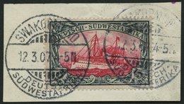 DSWA 23 BrfStk, 1901, 5 M. Grünschwarz/bräunlichkarmin, Ohne Wz., Prachtbriefstück, Mi. (200.-) - Kolonie: Deutsch-Südwestafrika