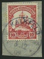 DSWA 26 BrfStk, KALKFELD Auf 10 Pf. Karminrot, Prachtbriefstück - Kolonie: Deutsch-Südwestafrika