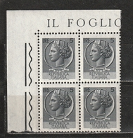 Italia 1968-1979: Siracusana Da 5 Lire In Quartina D'angolo MNH ** - 1961-70:  Nuovi