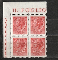 Italia 1968-1979: Siracusana Da 10 Lire In Quartina D'angolo MNH ** - 1961-70:  Nuovi