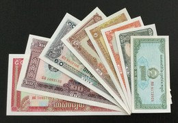 CAMBODIA SET 0.1 0.2 0.5 1 5 10 20 50 RIELS BANKNOTES 1979 UNC - Cambodia