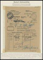 DSWA 1913, WINDHUK, Brücken - Und Innendienststempel Auf Briefkarte über 3 Einschreibsendungen Nach FAHLGRAS, Pracht - Kolonie: Deutsch-Südwestafrika