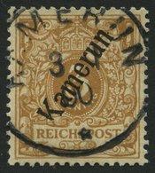KAMERUN 1b O, 1898, 3 Pf. Hellockerbraun Mit Abart K Unten Verkürzt, Pracht, Gepr. Jäschke-L. - Kolonie: Kamerun