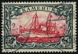 KAMERUN 19 O, 1900, 5 M. Grünschwarz/bräunlichkarmin, Ohne Wz., Pracht, Mi. 600.- - Kolonie: Kamerun