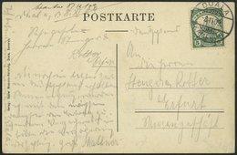 KAMERUN 21I BRIEF, 1909, 5 Pf. Grün, Mit Wz., Auf Ansichtskarte Von DUALA Nach Erfurt, Pracht - Kolonie: Kamerun