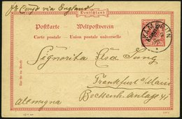KAMERUN P 2 BRIEF, 1898, 10 Pf. Karmin, Stempel KAMERUN, Mit Rückseitiger Zeichnung Ein Afrikanischer Traum, über Fr. Co - Kolonie: Kamerun