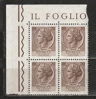 Italia 1968-1979: Siracusana Da 20 Lire In Quartina D'angolo MNH ** - 1961-70:  Nuovi
