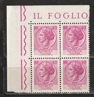 Italia 1968-1979: Siracusana Da 40 Lire In Quartina D'angolo MNH ** - 1961-70:  Nuovi