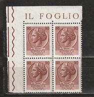 Italia 1968-1979: Siracusana Da 90 Lire In Quartina D'angolo MNH ** - 1961-70:  Nuovi