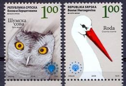 BHRS 2008-442-3 SAVE EUROPE NATURE, BOSNA AND HERZEGOVINA-R.SRPSKA, 2v, MNH - Cigognes & échassiers