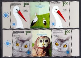 BHRS 2008-442-3 SAVE EUROPE NATURE, BOSNA AND HERZEGOVINA-R.SRPSKA, 2 X 2v + Labels, MNH - Cigognes & échassiers