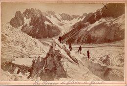 Photo Ancienne Sur Carton - Les Séracs Du Glacier Du Géant - Mont Blanc  ( Dim 16x10 Cm) - Anciennes (Av. 1900)