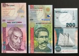 CAPE VERDE SET 200 500 1000 ESCUDOS BANKNOTES 2005-2007 UNC - Cape Verde