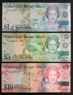 CAYMAN ISLANDS SET 1 5 10 DOLLARS BANKNOTES 2010 UNC - Isole Caiman