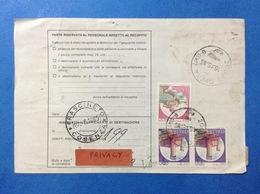 ITALIA COPPIA CASTELLO 700 LIRE + 800 SU BOLLETTINO PACCHI DEL 1985 - 6. 1946-.. Repubblica