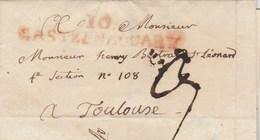 LSC Lettre Marque Postale Rouge 10 CASTELNAUDARY Aude 17/10/1807 Taxe Manuscrite Pour Toulouse Haute Garonne - 1801-1848: Precursors XIX