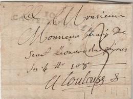 LSC Lettre Marque Postale 10 CASTELNAUDARY Aude 10/6/1811 Taxe Manuscrite Pour Toulouse Haute Garonne - Marcophilie (Lettres)