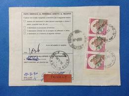 ITALIA CASTELLO 800 LIRE STRISCIA DI 3 SU BOLLETTINO PACCHI DEL 1990 - 6. 1946-.. Repubblica