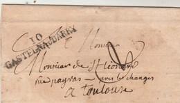 LSC Lettre Marque Postale 10 CASTELNAUDARRY Aude 7/10/1824 Taxe Manuscrite Pour Toulouse Haute Garonne - 1801-1848: Precursors XIX