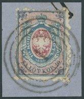 POLEN 1a BrfStk, 1860, 10 K. Blau/rosa, Nummernstempel 1, Kabinettbriefstück, Gepr. Jungjohann - Polonia