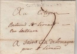 LSC Lettre Marque Postale 10 CASTELNAUDARY Aude 3/2/1798 Taxe Manuscrite Pour St Clar De Lomagne Gers - Marcophilie (Lettres)