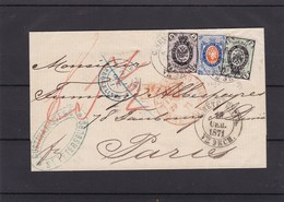 Lettre Tricolore  De SAINT PETERSBOURG RUSSIE  Vers Paris  N°  19 , 20 Et 22 Soit 28 K - 1857-1916 Empire