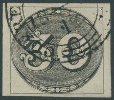 BRASILIEN 1 O, 1843, 30 R. Schwarz, Sog. Ochsenauge, Allseits Breitrandig, Pracht, Mi. (800.-) - Brasil