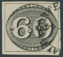 BRASILIEN 2 O, 1843, 60 R. Schwarz, Sog. Ochsenauge, Allseits Breitrandig, Winzige Rückseitige Aufhellung Sonst Pracht,  - Brasil