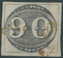 BRASILIEN 3 O, 1843, 90 R. Schwarz, Sog. Ochsenauge, Breitrandig, Rotbrauner Stempel, Rückseitig Dünne Stellen Und Klein - Brasil